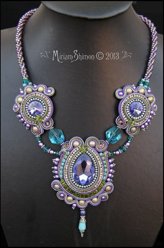 Purple Teal and Olive Soutache necklace by MiriamShimon on Etsy, $190.00. (BEAUTIFUL