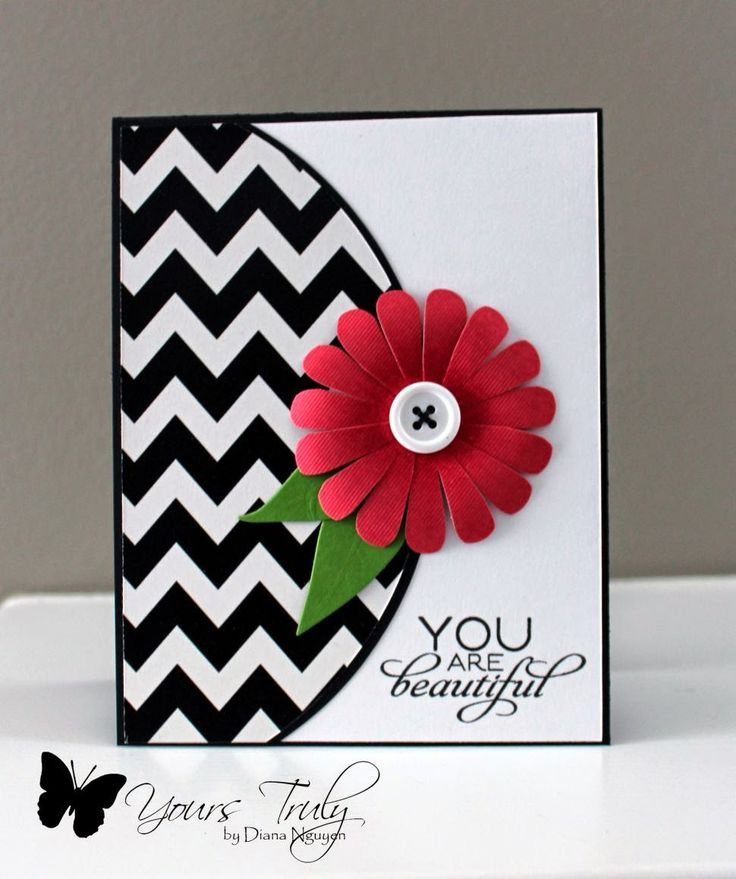 handmade card ...  CAS(E) this Sketch #73 ...black and white with a pop of deep rose and green ... luv the half circle with bold chevron print ... clean, graphic look ...