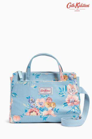 Cath Kidston Teal/Pink Windflower Print Mini Handbag