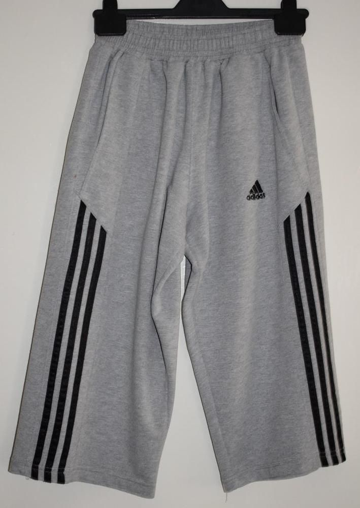busca lo mejor outlet retro ADIDAS Mens 3/4 Length Three Stripes Sports Casual Bottoms Grey ...