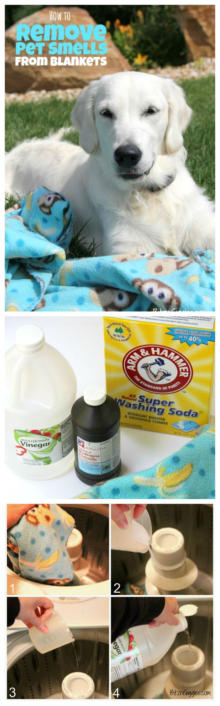 How to Remove Pet Smells From Blankets! If you have a pet, you know exactly what I'm talking about!! This solution will take smells out that regular laundry detergent will not!
