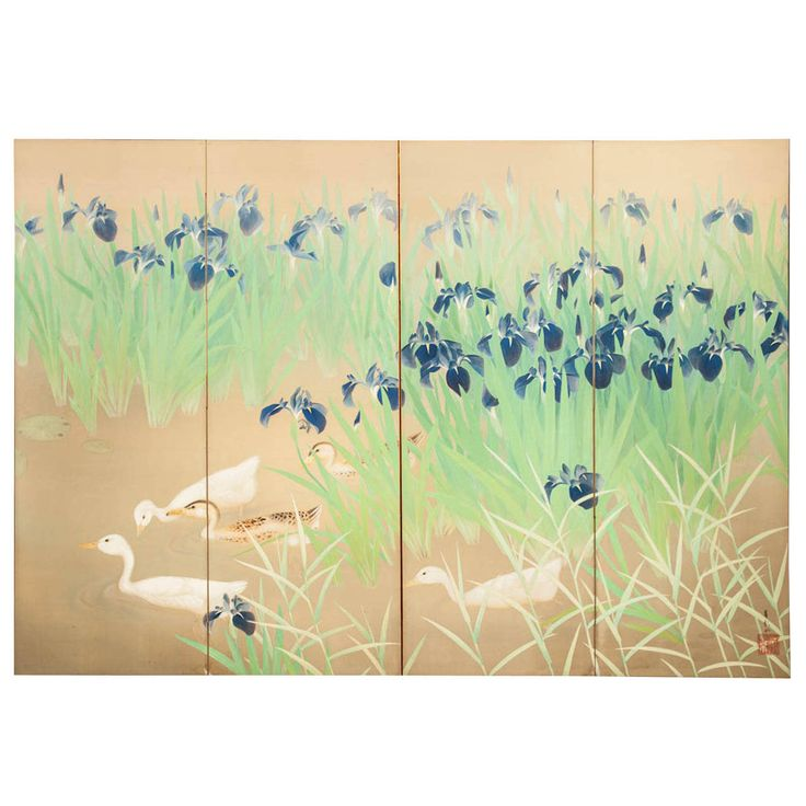 Japanese Four Panel Screen, Water Landscape with Iris and Ducks | From a unique collection of antique and modern paintings and screens at https://www.1stdibs.com/furniture/asian-art-furniture/paintings-screens/