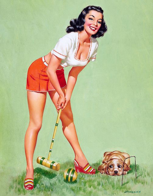 The adorable puppy's expression adds a lot to this fun summer pinup painting. - I'm looking at pinup girls lately because Alex is thinking of getting one, and this one is so nice because the puppy looks like Brodie!!!