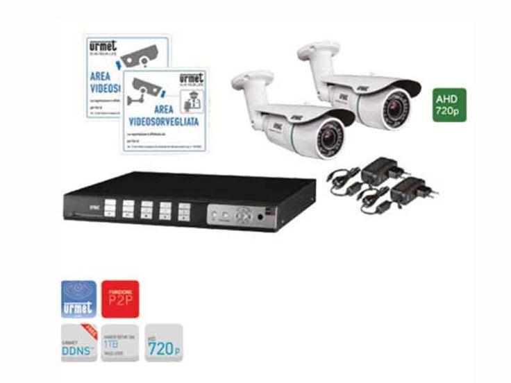 I prodotti di elettronew.com - Kit telecamere per videosorveglianza Urmet videoregistratore 4 canali AHD 720P e 2 telecamere 3,66mm #videosorveglianza #telecamere #videoregistratori #edilizia #tecnologia #videocontrollo #sicurezza #antifurti #monitor