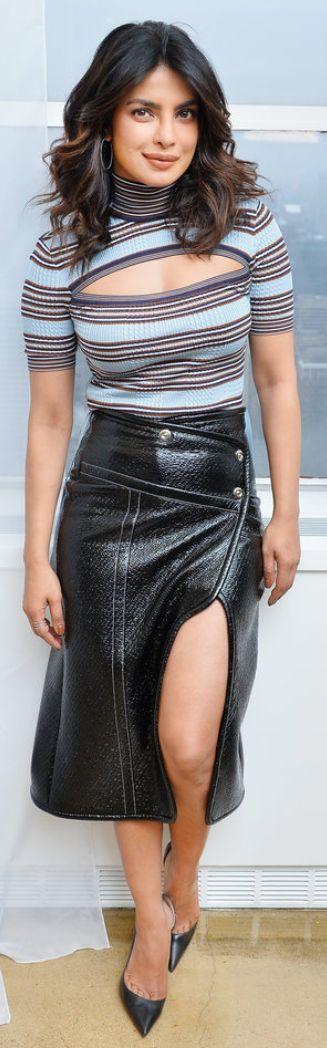 Who made Priyanka Chopra's black pumps, wrap top, coat, and blue stripe cut out top?