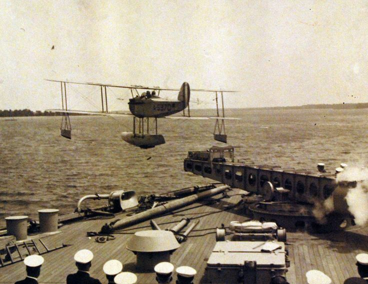 VE-7, leaving the turn table catapult onboard USS Maryland (BB 46). Photograph received 1922. Official U.S. Navy Photograph, now in the collections of the National Archives.