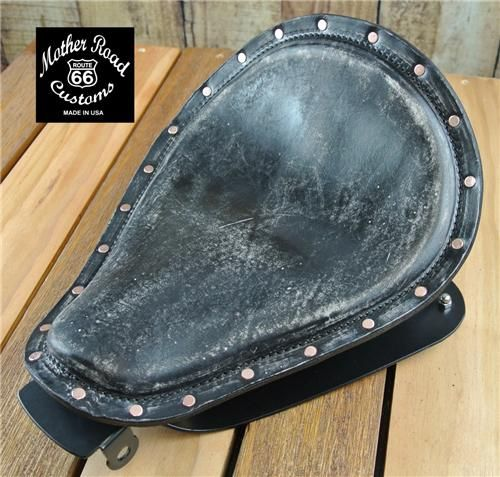 2010 2016 black distressed veg leather copper rivets sportster harley seat conversion kit cs. Black Bedroom Furniture Sets. Home Design Ideas