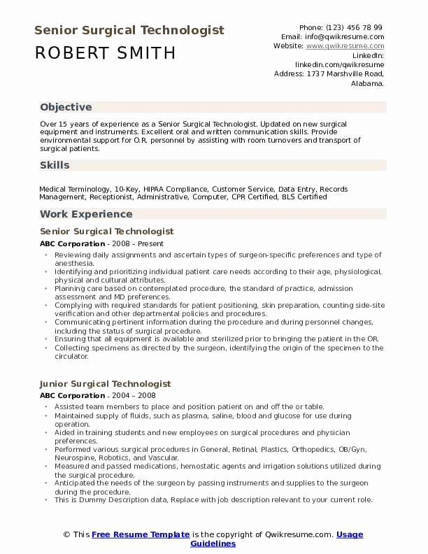Surgical Technician Resume Samples New Surgical Technologist Resume Samples In 2020 Resume Examples Teacher Resume Examples Resume Objective