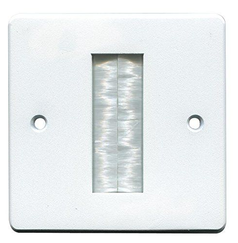 From 2.33:Pro Signal Brush Stripe Cable Entry Single Gang Wall Face Plate - White
