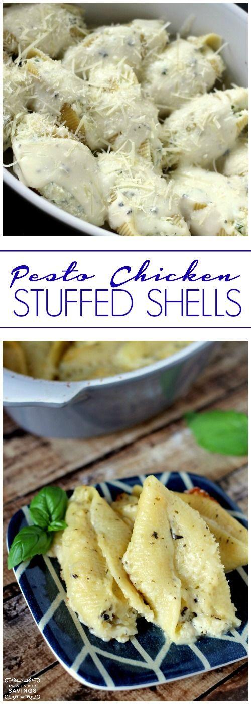 Pesto Chicken Stuffed Shells! Easy Dinner Recipe or Freezer Recipe!