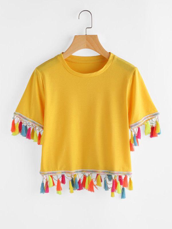 49e405e1cc Contrast Tassel Trim Tshirt -SheIn(Sheinside) | Shirts | Fashion ...