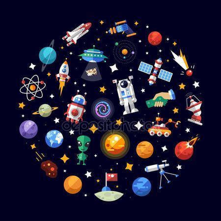 Descargar - Composición de diseño plano círculo de espacio los iconos infografía elementos — Ilustración de stock #74044289
