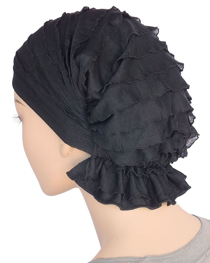 Abbey Cap® Women's Ruffle Black Chemo Hat Beanie Scarf Pretied Turban Headwear for Cancer