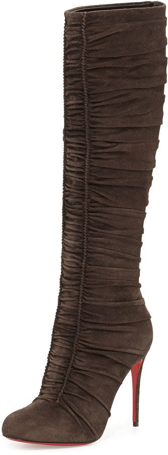 Christian Louboutin Vivas Dine Ruched Suede Red Sole Boot, Dark Gray on shopstyle.com