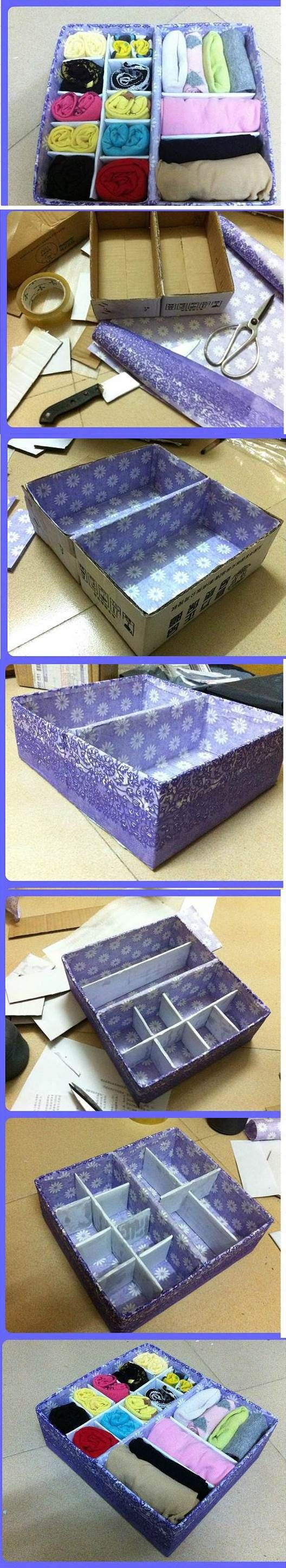 DIY Cardboard Underwear Storage Box | iCreativeIdeas