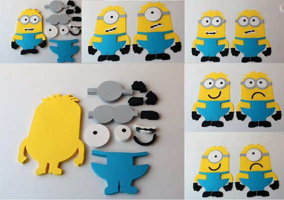 DIY Minion party game DIY Despicable me birthday party games DIY Minions cutouts Despicable me cutouts Pin the googles minions game supplies