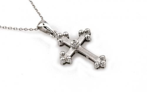 Diamantový prívesok kríž s retiazkou v bielom zlate