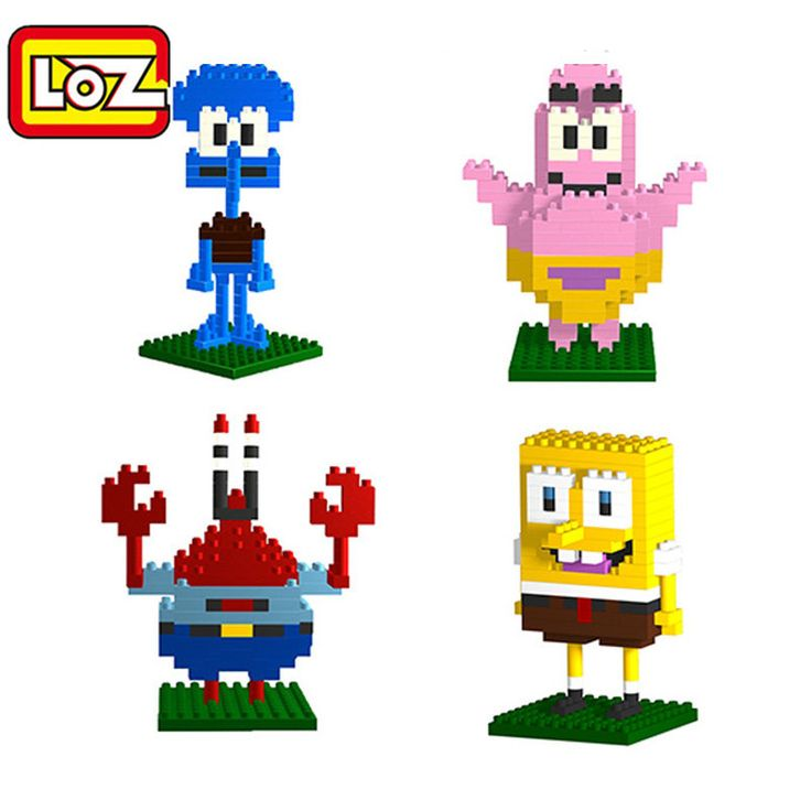 Nano Block LOZ Spongebob Anime 3D Toys Squidward Tentacles Diamond Block Action Figure Plastic Diy Education Building block 9144