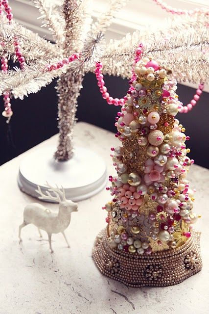 Vintage Jewelry Tree__ I have done three trees like this in various sizes for several years now, but I only decorate mine in jewelry with no added ornaments.