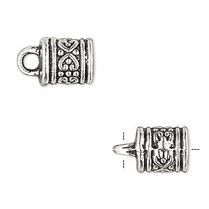 Cord end, glue-in, antique silver-plated