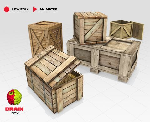 Wooden Crates / Animated / Low Poly