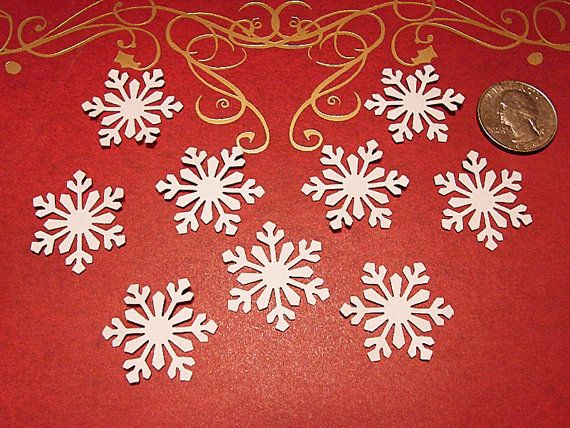 50 White Himalayan Collectible Snowflake Paper Punches Die Cut Embellishment