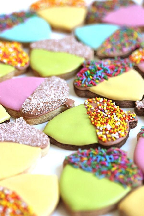 Sprinkle Topped Acorn Cookies