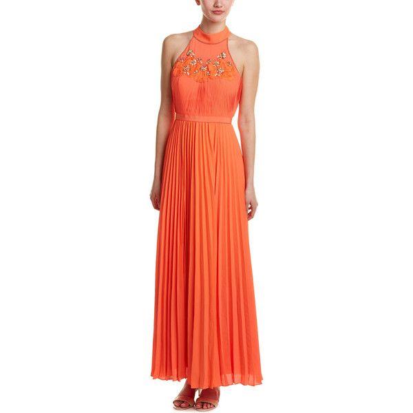 Karen Millen Embellished Maxi Dress ($180) ❤ liked on Polyvore featuring dresses, orange, orange maxi dress, keyhole maxi dress, maxi dresses, red print dress and embellished maxi dress