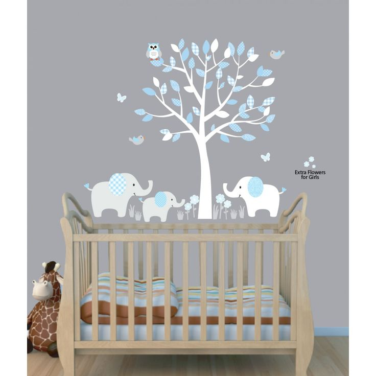 Baby Nursery Decor, Elephants Below Beautiful Tree Baby Boy Nursery Decals Blue Theme Color Owl Flying Birds ~ wall name baby boy nursery decals art decor