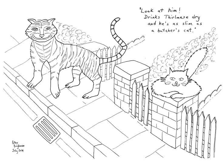 Tiger Tea Bullpuss #colouringInAsTherapy black n white monochrome - Digital Download .jpeg .jpg by MrSquimpsCatShop on Etsy