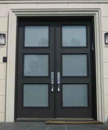 Contemporary Double Front Doors | These are solid wood doors, Painted Black, with insulated Frosted ...