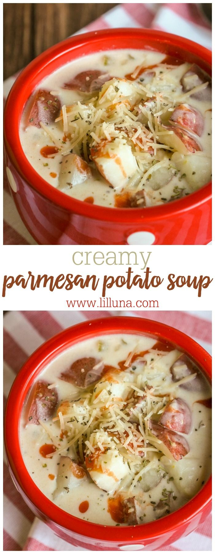Creamy Parmesan Potato Soup - the perfect fall recipe with so much flavor! It's an easy dinner idea to add to the meal rotation.