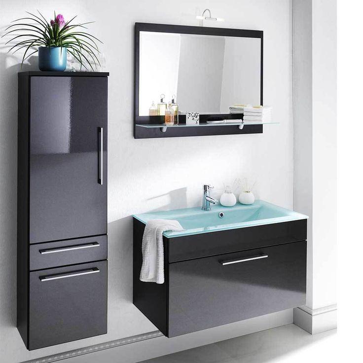 Badezimmer Kombination In Anthrazit Hochglanz Spiegelschrank (3 Teilig)  Jetzt Bestellen Unter: Https