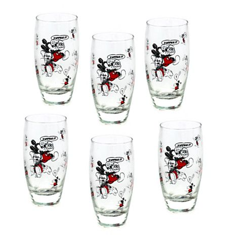 Mickey Mouse Comic Tall Glasses, Set of 6