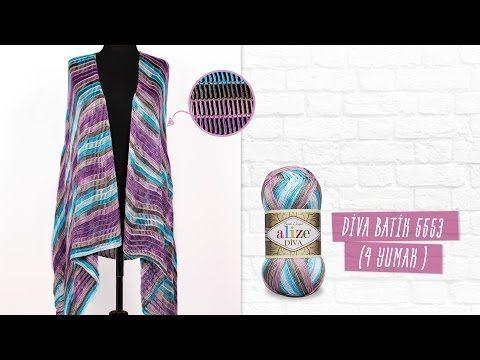 Alize Diva Batik farkıyla tunus işi yelek yapımı - Tunisian work of ves by Alizd Diva Batik - YouTube