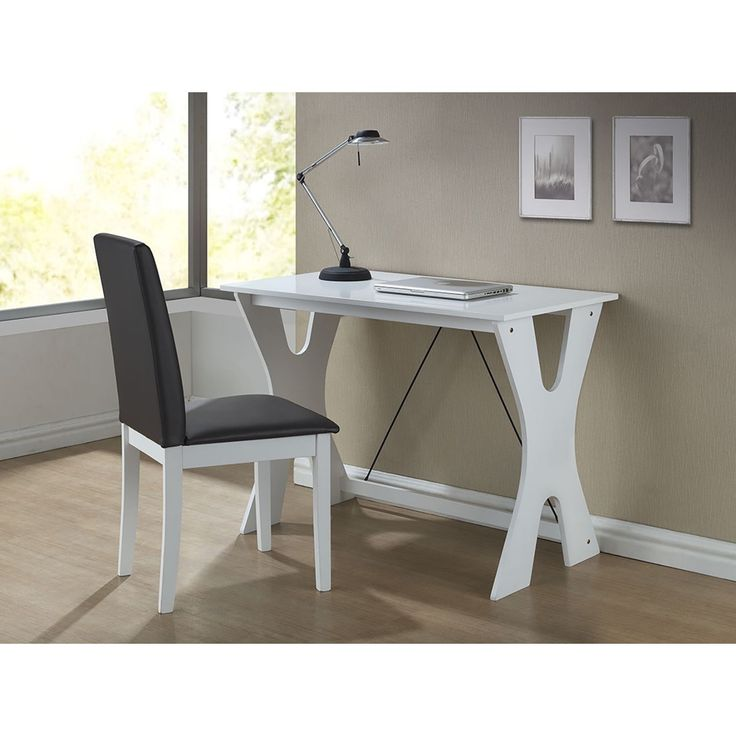 With A Lovely White Solid Rubber Wood This Modern Writing Desk Allows You To Work