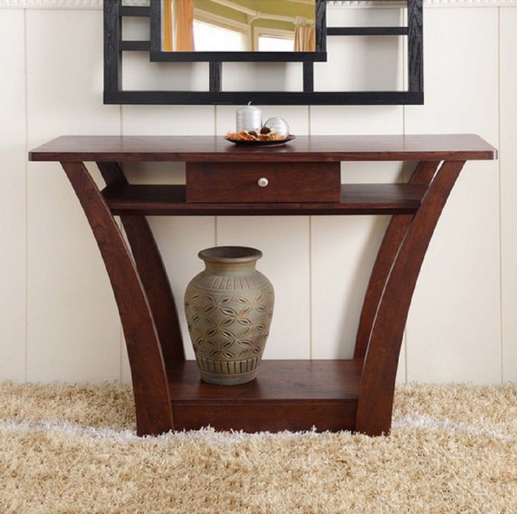 Dark Walnut Sofa Entry Buffet Hall Long Narrow Modern Table Console Drawer  Foyer #Modern