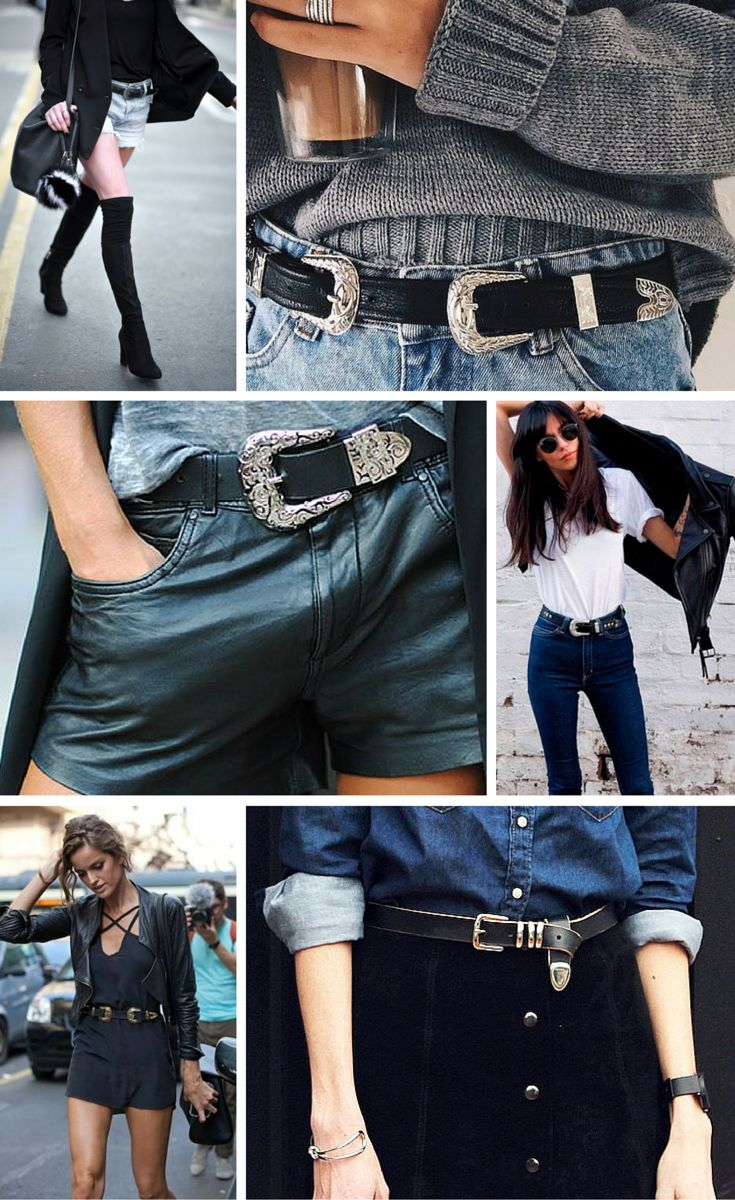 black western style belts with silver buckles seem to be popping up on the streets of the most fashionable women. // definitely a style trend worth noting #accessories #details