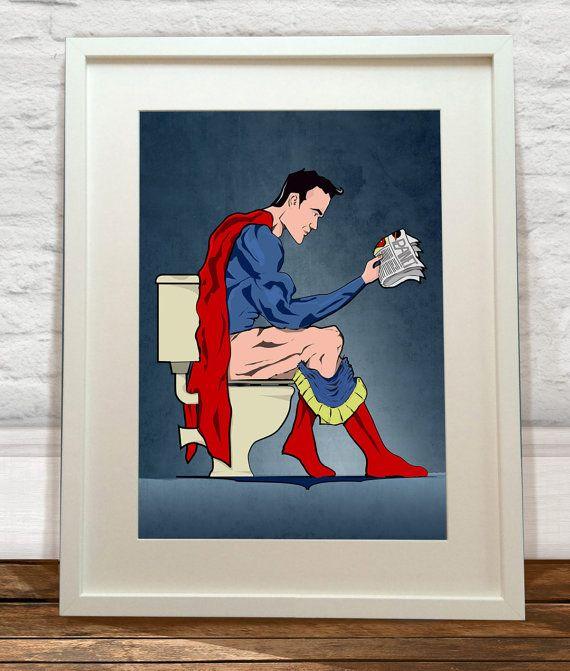 Superhero On Toilet Art Print by wyatt9 on Etsy