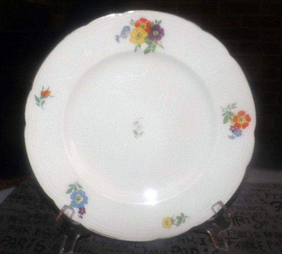 Beautiful antique plate leaves and flowers Gold plated detail Shabby chic fine dining Octagonal with handpainted bird