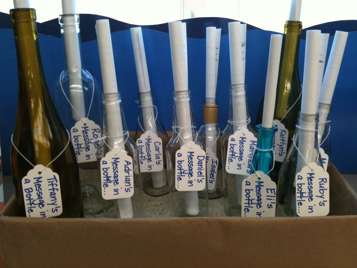 "My kindergarten class made these ""Messages in a bottle"" for our ""Under the Sea"" Open House. They brought in one glass bottle from home and then wrote a message to their parents."