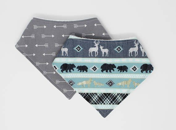 Boy Bandana Bib Set Woodland Drool Bib Arrow Bibdana