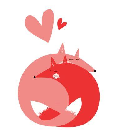 Детская футболка Лисички обнимаются - Арт/дизайн - Рисунок - Лисички обнимаются - сердце, кошки , сердечки, рисунок, животные, картинки, лиса, лисички