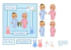 Congratulations card for boy   girl twins on Craftsuprint - View Now!