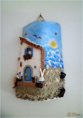 *Tegole decorate*Giuseppe*: La casetta sul mare