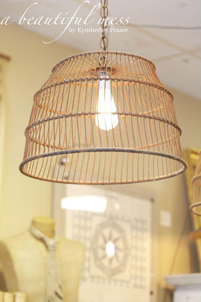 Antique Mussel Basket Light from a beautiful mess