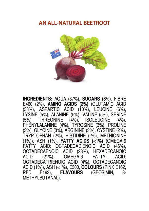 ingredients of an AUSTRALIAN BEETROOT