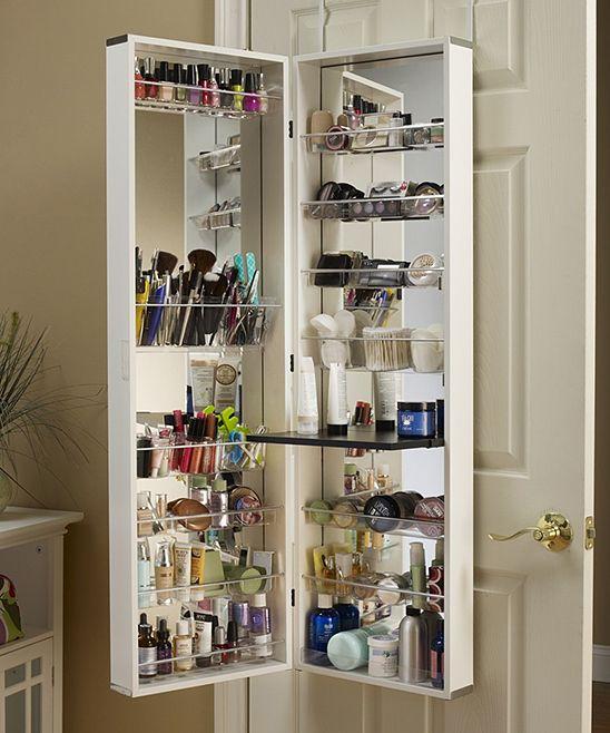 White Cosmetic Organizer Armoire/Mirror 14u0027u0027 W X 48u0027u0027 ...