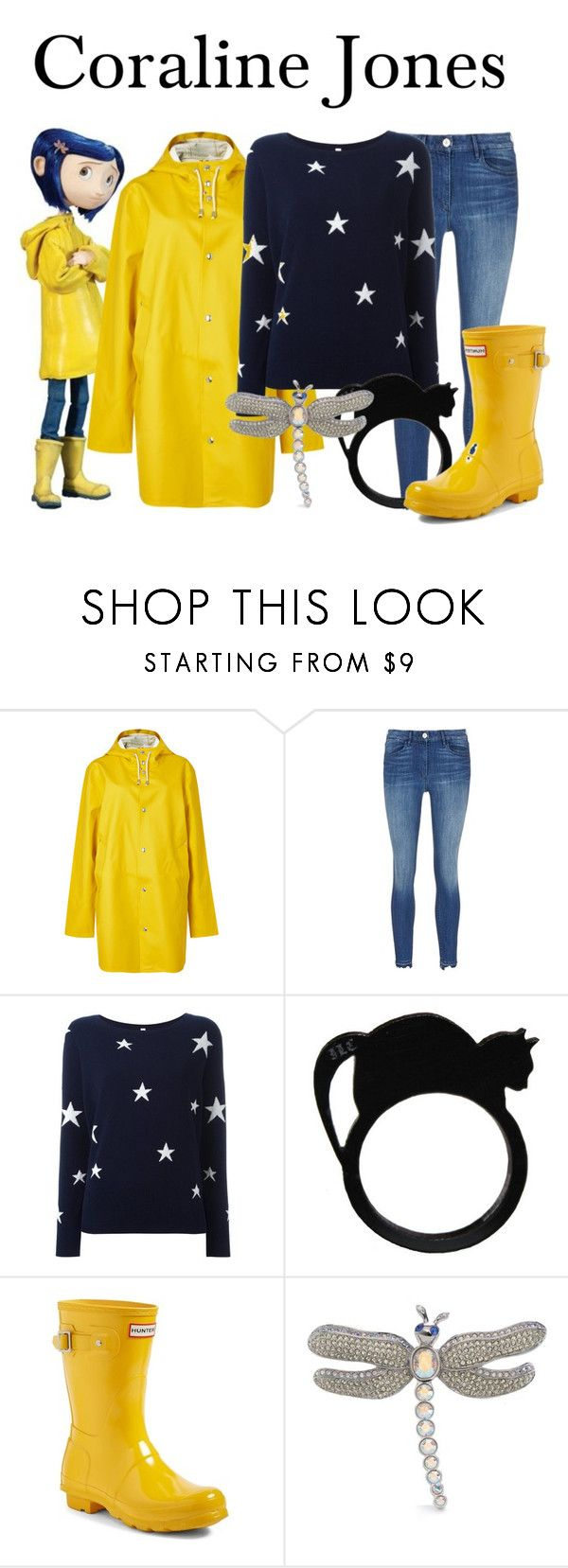 """Coraline Jones"" by megan-vanwinkle ❤ liked on Polyvore featuring Stutterheim, PHILO-SOFIE, Hunter and Carolee"