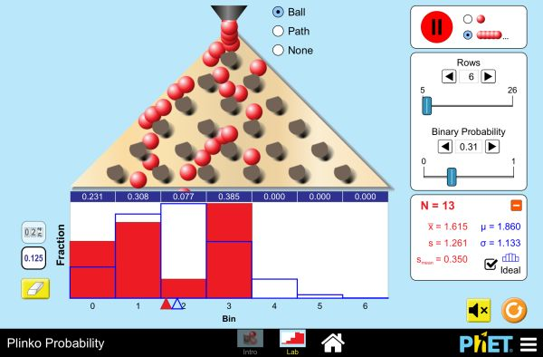 Drop balls through a triangular grid of pegs and see them accumulate in containers. Switch to a histogram view and compare the distribution of balls to an ideal binomial distribution. Adjust the binomial probability and develop your knowledge of statistics!